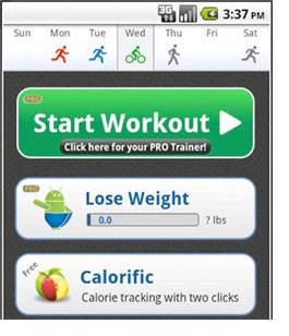 Fitness app on a phone